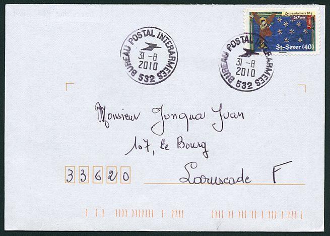 timbre 224 date avec logo de la poste et mention bureau postal interarmees et num 233 ro de bpm