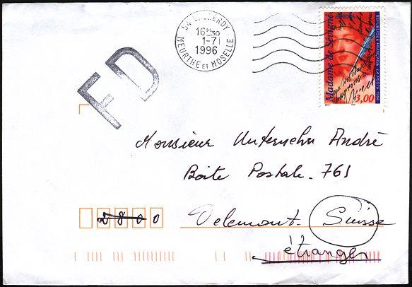 lettre postale Marque linéaire avec lettres FD (Fausse destination) lettre postale