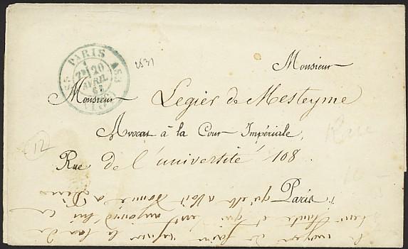 Timbre date avec identification du bureau de quartier pour les lettres en port du de paris paris - Port irlandais en 7 lettres ...